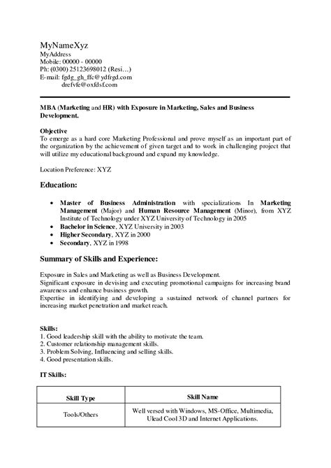 mba resume objective career objective for mba resume