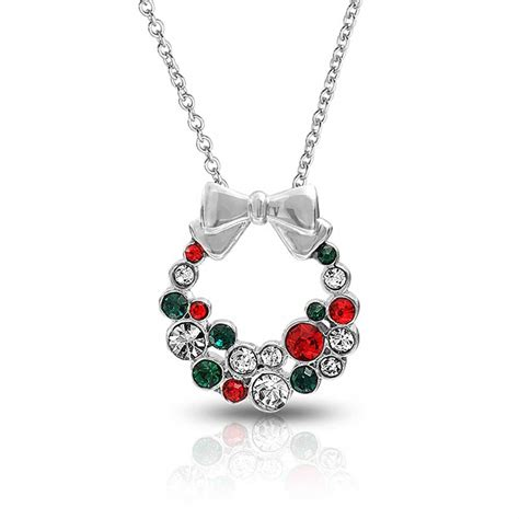 silvertone red green crystal christmas wreath bow necklace