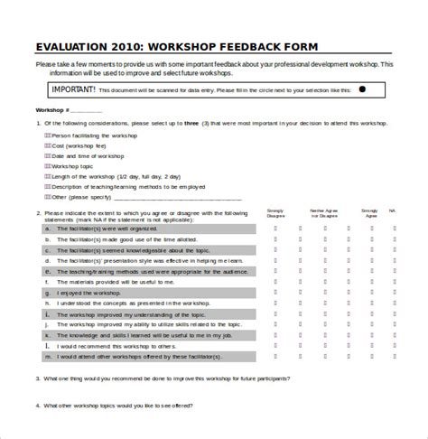 free survey templates for word workshop feedback form presentation evaluation form