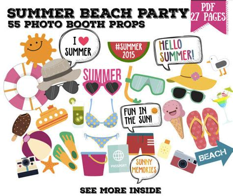 free printable photo booth props pool party summer beach party photo booth props set from geekygadget