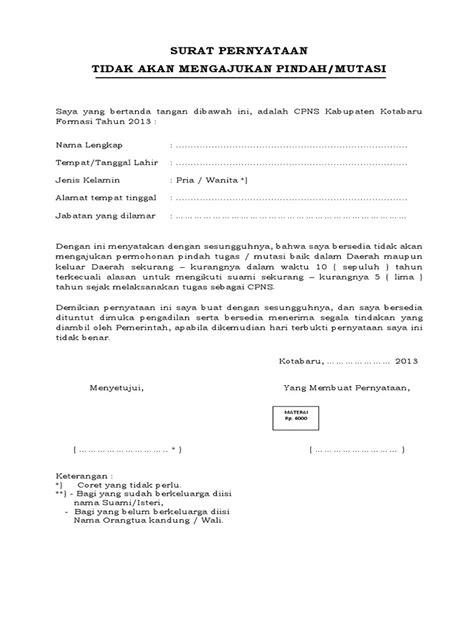 04 contoh surat pernyataan bersedia tidak pindah
