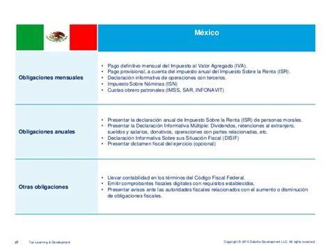 fundamento legal de la informativa multiple de sueldos y salarios 2015 2 deloitte marco legal tributario 2015 m 233 xico per 250 y chile