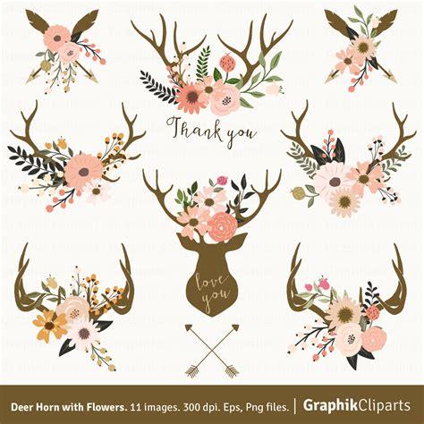 deer horn with flowers floral antlers clip art rustic
