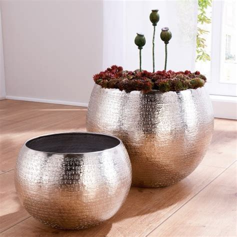 Indoor Planters Uk by Set Of 2 Indoor Plant Pots Aluminium Silver By Woonio Uk