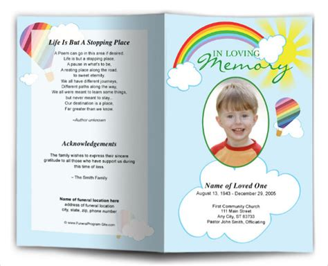 child funeral program template 12 child funeral program templates free premium