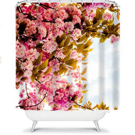 pink flower shower curtain pink floral shower curtain by ruby and b