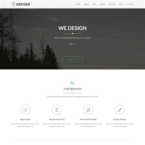 html5 template one page grover one page html5 template themes templates