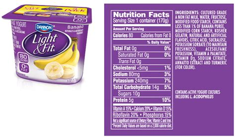 Dannon Light And Fit Yogurt Nutrition by Dannon Light And Fit Nutrition Label Nutrition Ftempo