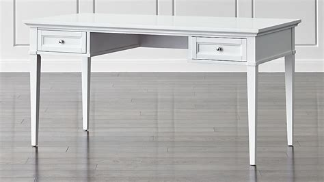 white writing desk with drawers harrison 60 quot white desk with drawers crate and barrel