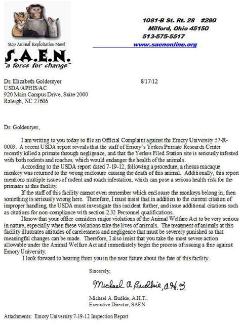 Complaint Letter For Piggery Emory Atlanta Ga Letter Of Complaint To Usda 17 Aug 2012 Facility