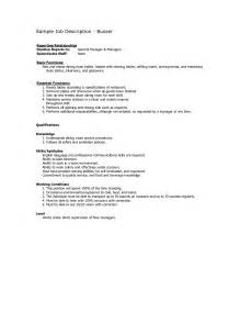 busser resume sle restaurant busser description for