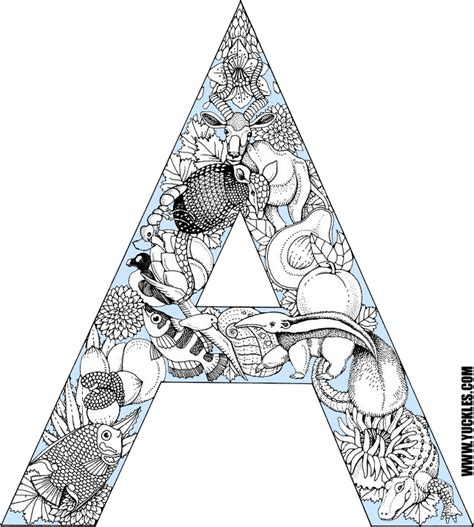 animal alphabet coloring pages a z letter a coloring page by yuckles