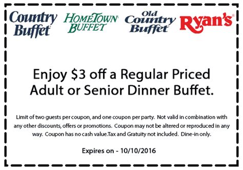 Buffet Coupons Country Buffet Coupons 3 Dinner At Country