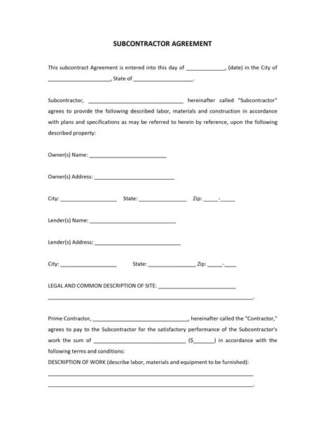 subcontracting agreement template subcontractor agreement template free microsoft word