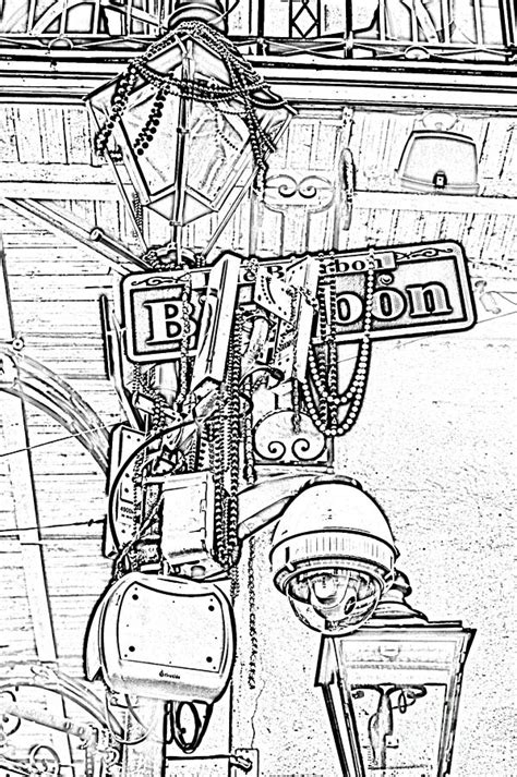 french quarter coloring page bourbon street sign and l covered in beads black and