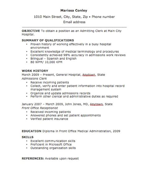 Admitting Registrar Sle Resume by Admitting Clerk Resume Thumbnail The Resume Template Site
