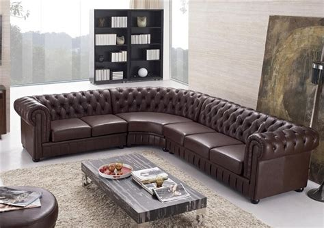 Aberdeen Tufted Leather Sectional Modern Sectional Tufted Leather Sectional Sofa