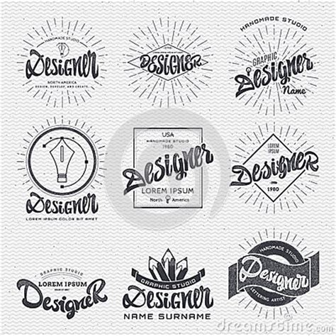 design elements writing designer insignia sticker can be used as a finished logo