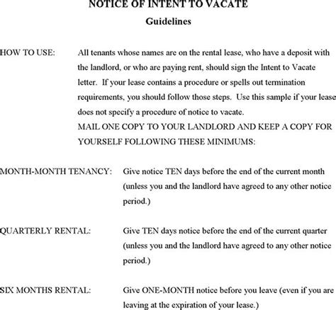 intent to vacate letter notice of intent to vacate for free tidyform