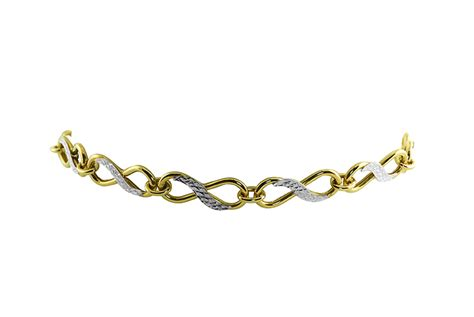 10k yellow and white gold infinity bracelet charm