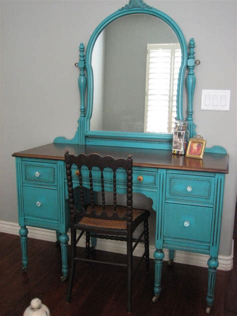 antique vanity sets for bedrooms bedroom european antique turquoise 5 drawer vanity set