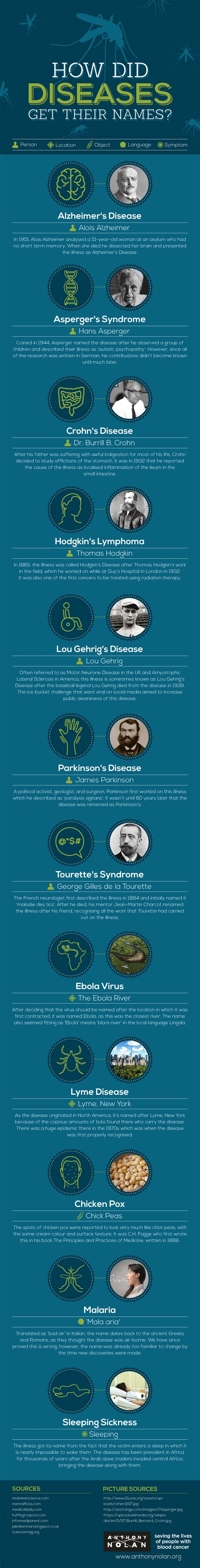 How To Find By Their Name How Did Diseases Get Their Names Infographic Visualistan