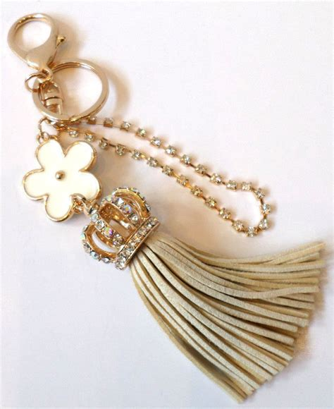 rhinestone bling key chain fob phone purse charm crown