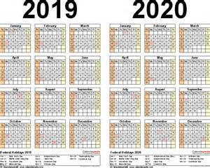 Kalender 2020 Bw 2019 2020 Calendar Free Printable Two Year Excel Calendars