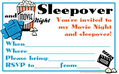 free sleepover invitation templates fill the blanks on this and sleepover