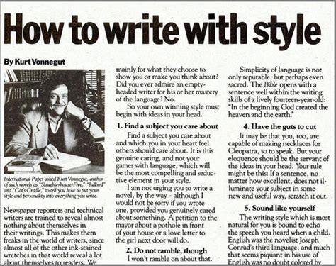 Kurt Vonnegut Essay by How To Write With Style By Kurt Vonnegut The 1980 Edition Boing Boing