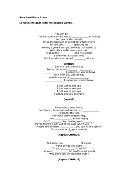 printable brave lyrics song worksheet brave by sara bareilles