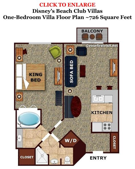 wilderness lodge villas floor plan sleeping space options and bed types at walt disney world