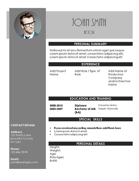 actors cv template free acting resume template