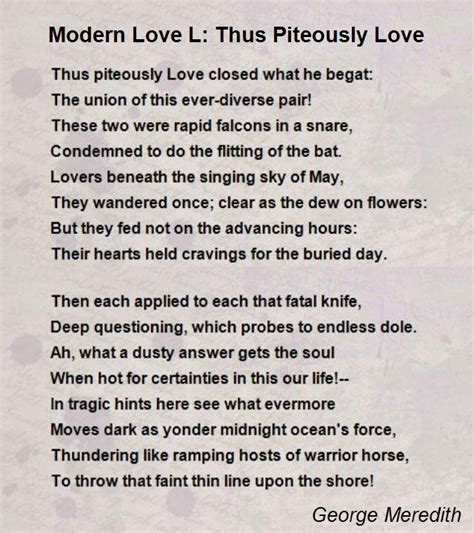 modern love modern love l thus piteously love poem by george meredith
