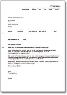 Absageschreiben Muster absage einer bewerbung um einen ausbildungsplatz de musterbrief
