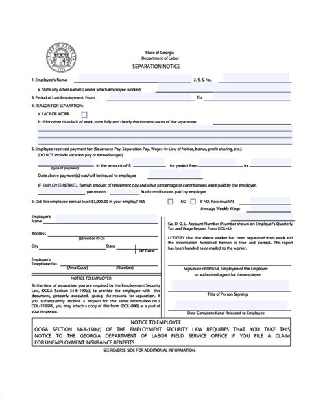 sle separation notice template 8 free documents