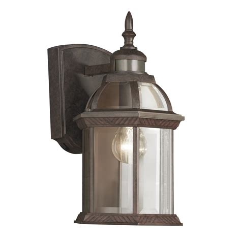 Outdoor Wall Lighting Motion Sensor Shop Portfolio 14 5 In H Bronze Motion Activated Outdoor Wall Light At Lowes
