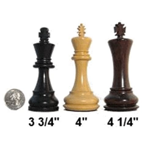 size chess staunton chess pieces by king height