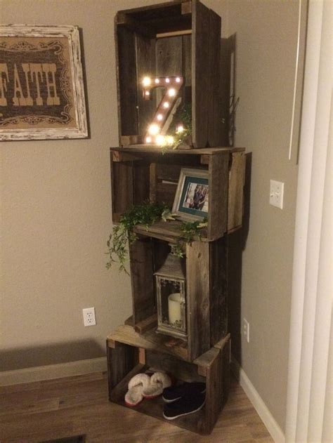 corner decor rustic crate corner shelf unit diy projects pinterest