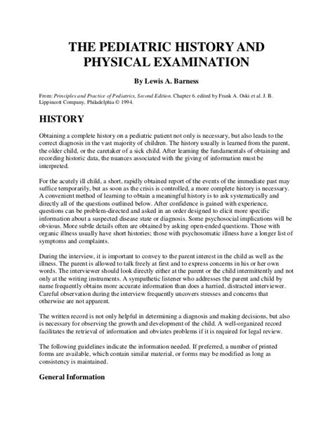 The Pediatric History And Physical Examination Pediatric Physical Template