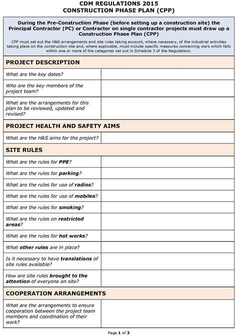 contractor safety plan template cdm regulations 2015 safety plan cpp template pp
