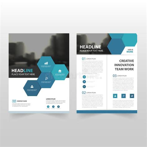 Book Report Brochure Template by Blue Hexagon Vector Annual Report Leaflet Brochure Flyer