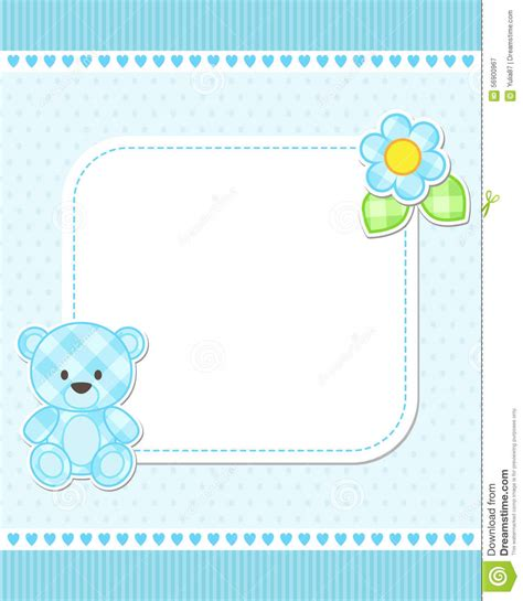 baby card template blue teddy card stock vector illustration of