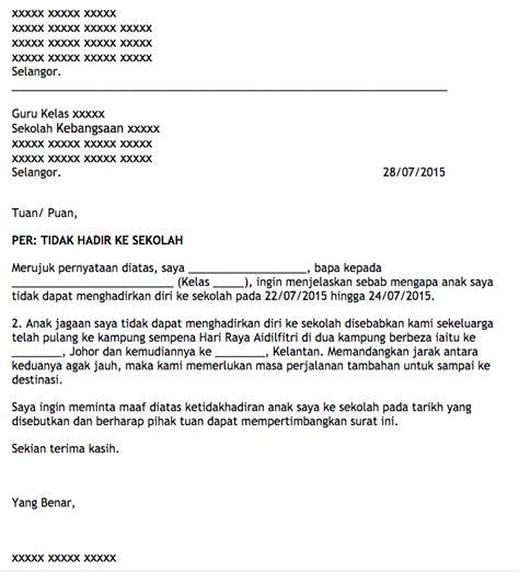 Contoh Surat Tidak Hadir Ke Sekolah by Anak Jawa Johor Di Kelantan Contoh Surat Tidak Hadir