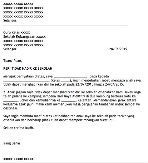 Surat Sekolah Tidak Hadir by Anak Jawa Johor Di Kelantan Contoh Surat Tidak Hadir