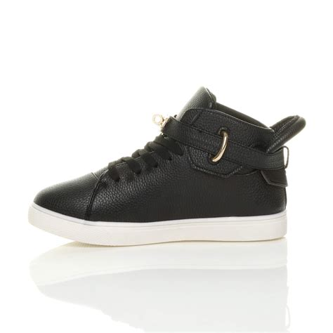 flat top shoes womens flat lace up hi high top ankle trainers