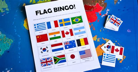 flags of the world game printable flags of the world bingo printable game for kids