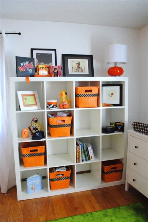 Expedit Ikea Bookcase Expedit With Staggered Orange Baskets Ikea Expedit