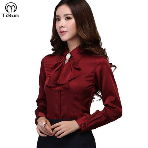 Promo Blouse Kemeja Kerja Wania Zaitun Shirt blouse shirt 2016 new satin silk s xxxl sleeve gorgeous blouses top