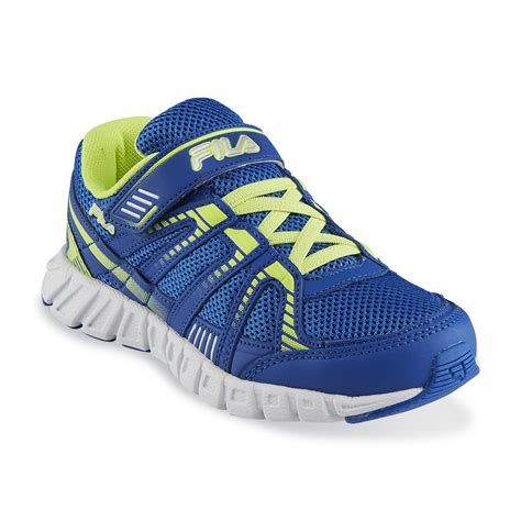 neon athletic shoes fila boy s volcanic runner blue neon yellow athletic shoe